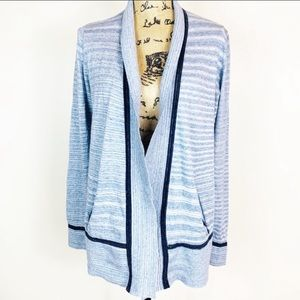 LOU & GREY light blue open front sweater cardigan